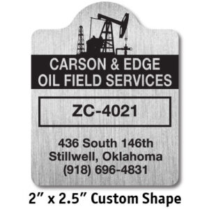 "2"" x 2.5"" custom shape metalphoto placard sample"